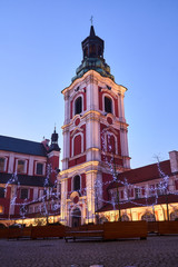 Baroque buildings of the former convent  and christmas decorations in city of Poznan.