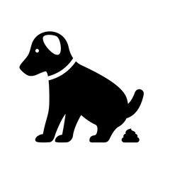 Small pooping dog vector silhouette