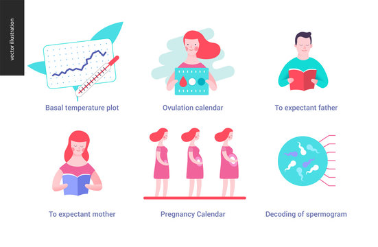 Reproduction - set of illustrated icons on pregnancy and fertility