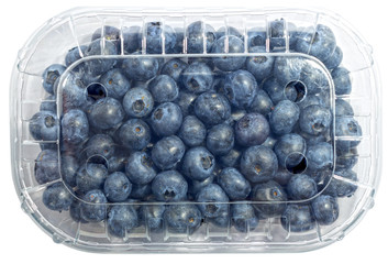 Blueberry package isolated on a white background with a clipping path. View from top.