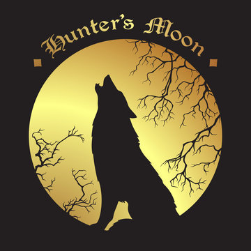 Silhouette of wolf howling at the full hunter's moon vector illustration. Pagan totem, wiccan familiar spirit art