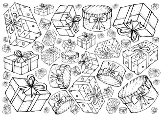 Hand Drawn of Gift Boxes with Ribbons Background