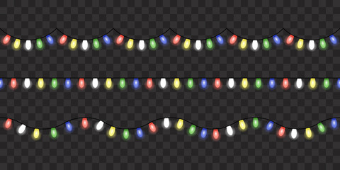 Image with Christmas lights isolated on transparent background. Vector illustration of glowing lights for Xmas holiday. Set of Christmas decorations. Set of color garlands. Realistic seamless elements