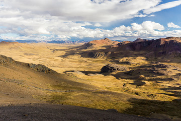 Wall Mural - Cordillera Vilcanota scenic landscape mountains range ridge peaks view, Peru.
