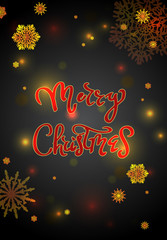 Christmas card with handwritten text and snowflakes. EPS10 vector format. Fully editable for inserstion of your own text.