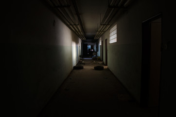 Hallway in abandoned hospital
