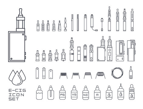 vecor set of vape related simple line Icons. RDA, Atomizer, drip tip, mod, e-liquid, coil