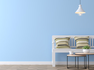 Modern vintage living room with blue wall 3d rendering image,There are blue paint wall and wood floor ,Funished with white wood bench and vintage pillows