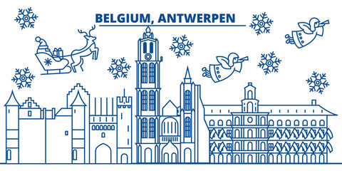 Stores à enrouleur Antwerp Belgium, Antwerpen winter city skyline. Merry Christmas, Happy New Year decorated banner with Santa Claus.Winter greeting line card.Flat, outline vector. Linear christmas snow illustration