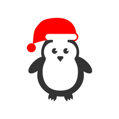 Cute Penguins wearing Santa Claus hat icon. Christmas or New Year element. Premium color graphic design. Signs, outline symbols collection, simple icon for websites, web design