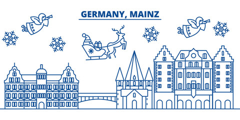 Germany, Mainz winter city skyline. Merry Christmas, Happy New Year decorated banner with Santa Claus.Winter greeting line card.Flat, outline vector. Linear christmas snow illustration