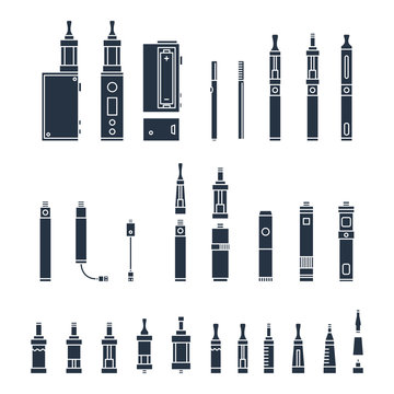 vecor set of vape related simple Icons. RDA, Atomizer, drip tip, mod, e-liquid, coil