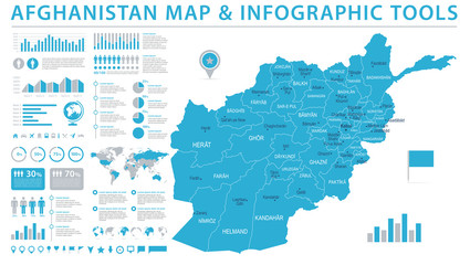 Afghanistan Map - Info Graphic Vector Illustration