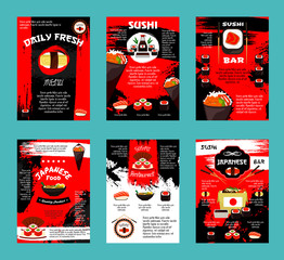 Japanese restaurant and sushi bar menu template