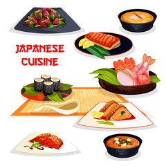 Japanese restaurant lunch dishes of asian cuisine