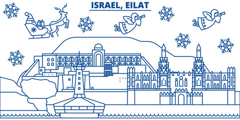 Israel, Eilat winter city skyline. Merry Christmas, Happy New Year decorated banner with Santa Claus.Winter greeting line card.Flat, outline vector. Linear christmas snow illustration