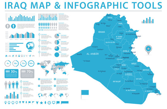 Iraq Map - Info Graphic Vector Illustration