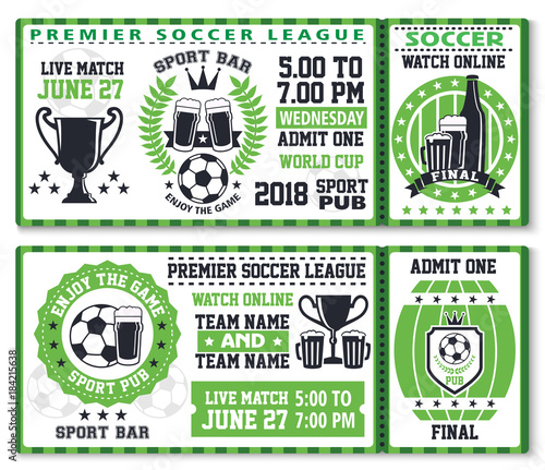 Soccer or football sport game ticket template\
