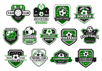 Soccer sport club and football team shield badge
