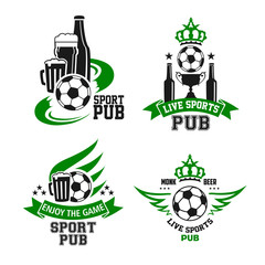Soccer ball and beer icon for sport bar design