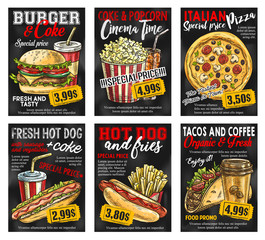 Fast food restaurant menu price card on blackboard