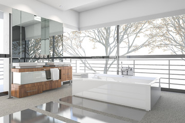 3d rendering modern minimal bathroom with scandinavian decor and nice nature view from window