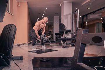 one bodybuilder, exercise T-bar row, gym interior, fitness equipment.
