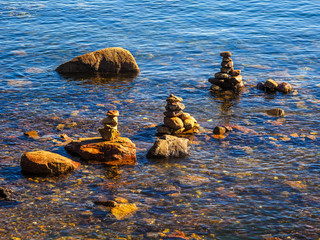 Stack of rocks in water