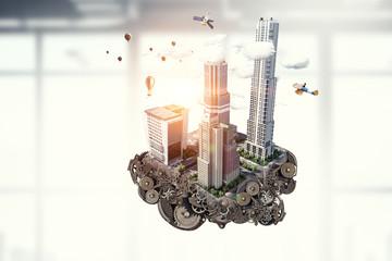 Construction and urban development. Mixed media