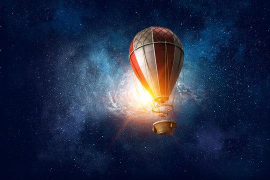 Air balloon in space