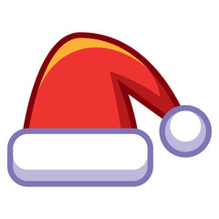 Cartoon Santa's Hat Isolated On White Background