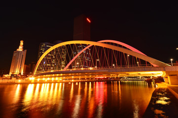 The modern city highway Bridges night landscape car light trails arc in tianjin Papier Peint