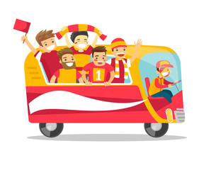 Bus full of cheerful caucasian white football team players in red outfit celebrating the victory in the football championship. Vector cartoon illustration isolated on white background. Square layout.