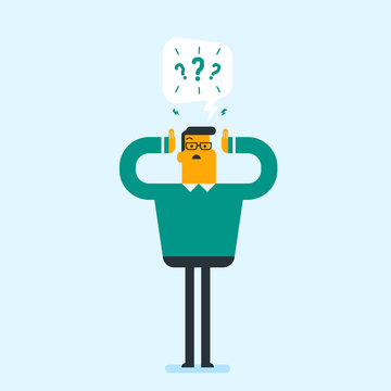 Young worried caucasian white businessman clutching his head while standing under question marks. Businessman does not have answers to many questions. Vector cartoon illustration. Square layout.