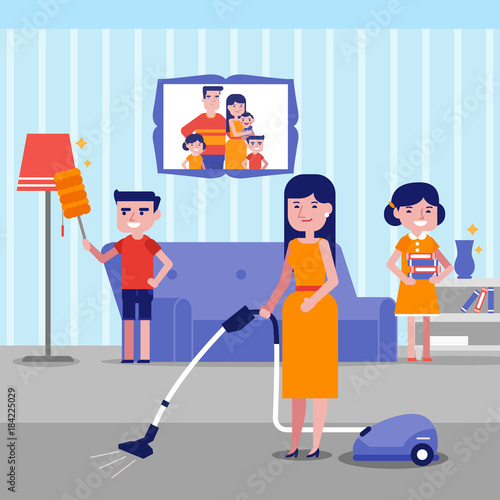 Caucasian White Family Having Fun While Cleaning Living Room With A Fascinating Cleaning Living Room Painting