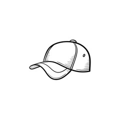 Vector hand drawn baseball hat outline doodle icon. Baseball cap sketch illustration for print, web, mobile and infographics isolated on white background.