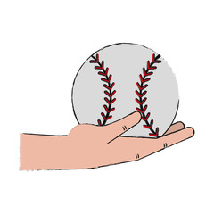 Hand holding baseball ball