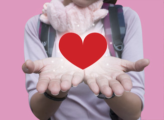 girl hands giving red heart