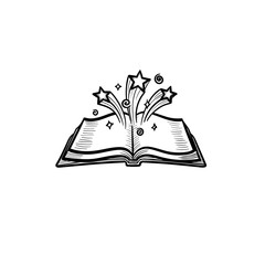 Vector hand drawn open magic book with stars outline doodle icon. Open magic book with stars sketch illustration for print, web, mobile and infographics isolated on white background.