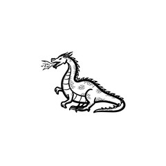 Vector hand drawn dragon breathing fire outline doodle icon. Dragon breathing fire sketch illustration for print, web, mobile and infographics isolated on white background.