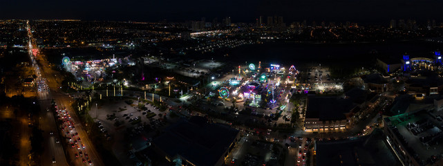 Carnival at night aerial image