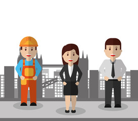 business people and man construction workers city background vector illustration