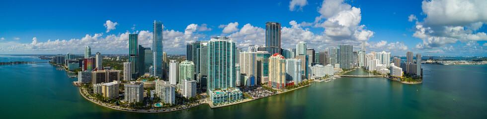 Wall Mural - Aerial panorama Brickell Miami FL bayfront image