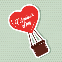 heart balloon flyin valentines day card vector illustration