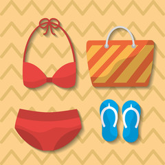 summer swimsuit bikini bag flip flops bag vector illustration