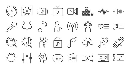 Music app icon set. Included the icons as song, playlist, music, album, new release, top chart and more.