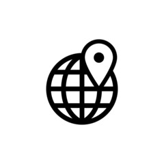 map pin on the globe