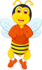 funny bee cartoon posing with smile