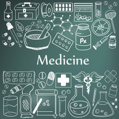 Medicine and pharmaceutical doodle handwriting icons of medicines tools sign and symbol in blackboard background for health presentation or subject title, create by vector