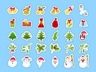 Cute cartoon Christmas sticker collection. Decorative festive element set. Bell, Christmas tree, mitten, gift box, santa, holy, mistletoe, snowman, penguin. Doodle Christmas icon set.